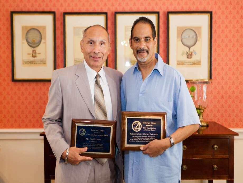 L-R:  David Lopez (President and CEO of the Harris County Hospital District); Garnet Coleman (member of the Texas House of Representatives for the 147th district) Photo: Cinema Productions