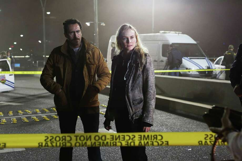 """Mexican detective Marco Ruiz (Demián Bichir) joins with Sonya Cross, a by-the-book officer from El Paso (Diane Kruger), to investigate a judge's murder in """"The Bridge."""" / San Antonio Express-News"""
