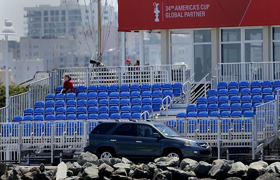 The fans did not come out in droves to watch Emirates Team New Zealand win its solo effort on Tuesday. Photo: Brant Ward, The Chronicle
