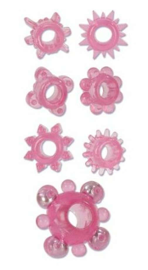 Stretchable ring thingies, handy and fun and easily available on Amazon and elsewhere. If you don't know a thing about sex toys, these just look like weird gummy candy. If you do, how could such a pic offend you?