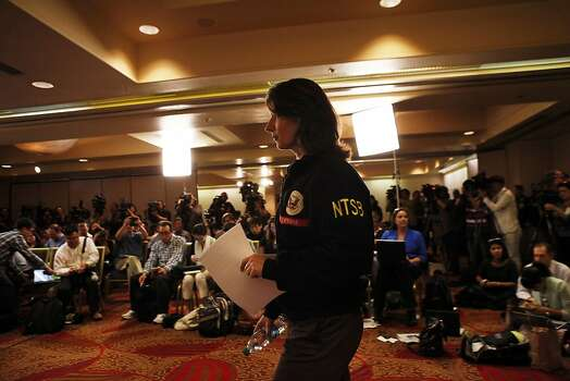 At a news conference, NTSB Chairwoman Deborah Hersman gives details of the safety board's examination in the airliner's crash. Photo: Carlos Avila Gonzalez, The Chronicle