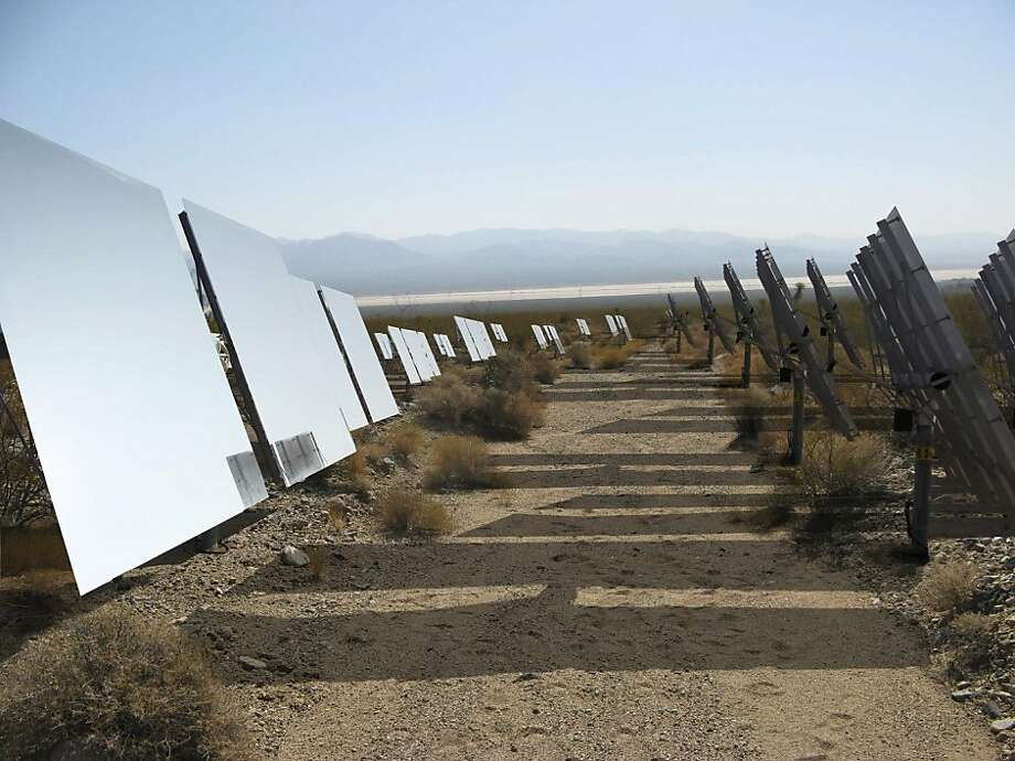 The Ivanpah solar plant, operated by Oakland's BrightSource Energy, raised alarm for the safety of endangered tortoises. Photo: Bloomberg