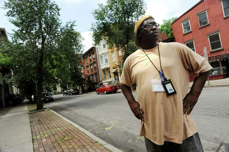"""Ira McKinley, a homeless man and documentary filmmaker who has produced a film on society's """"throwaways,"""" on Tuesday, July 9, 2013, on Grand Street in Albany, N.Y. (Cindy Schultz / Times Union) Photo: Cindy Schultz / 00023079A"""