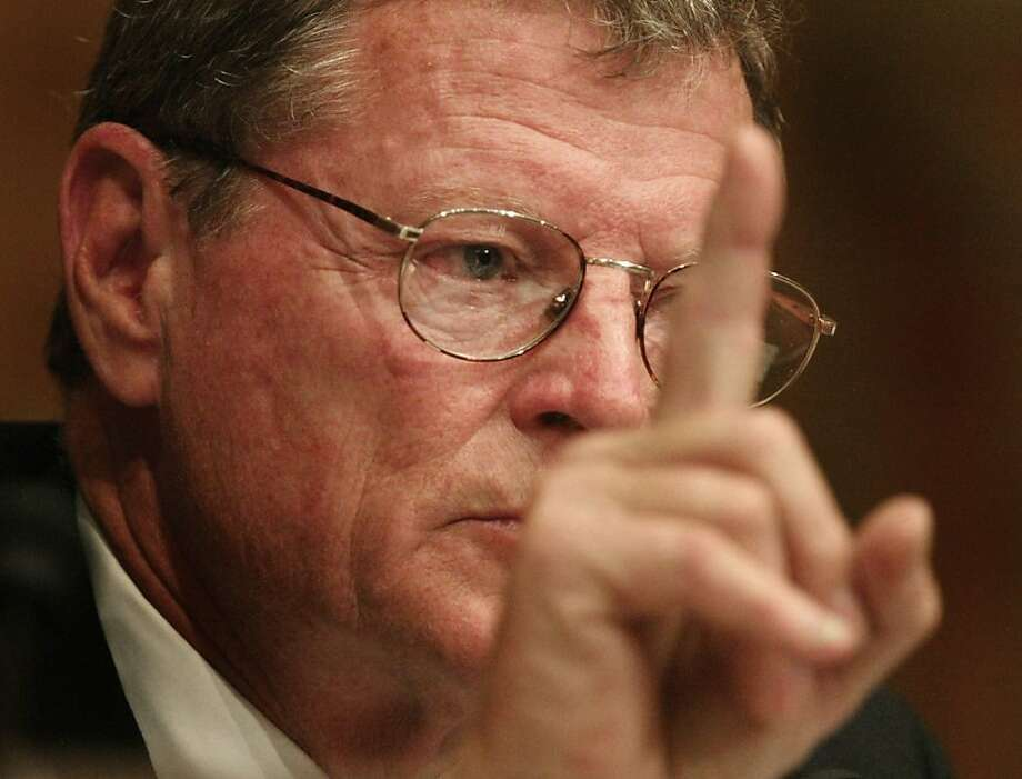 Senate Armed Services Committee member Sen. James Inhofe , R-Okla., makes a statement to the panel Tuesday, May 11, 2004, during the Senate Armed Services committee hearings regarding abuses of Iraqi prisoners in the U.S.-run Abu Ghraib prison  near Baghdad, Iraq . (AP Photo/Ron Edmonds) 