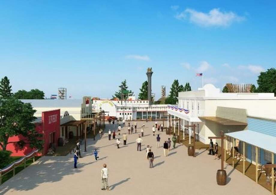 A preliminary rendering of  a portion of Grand Texas theme park. The park is slated to begin construction by the end of the year and open by 2015. Photo: Courtesy Photo