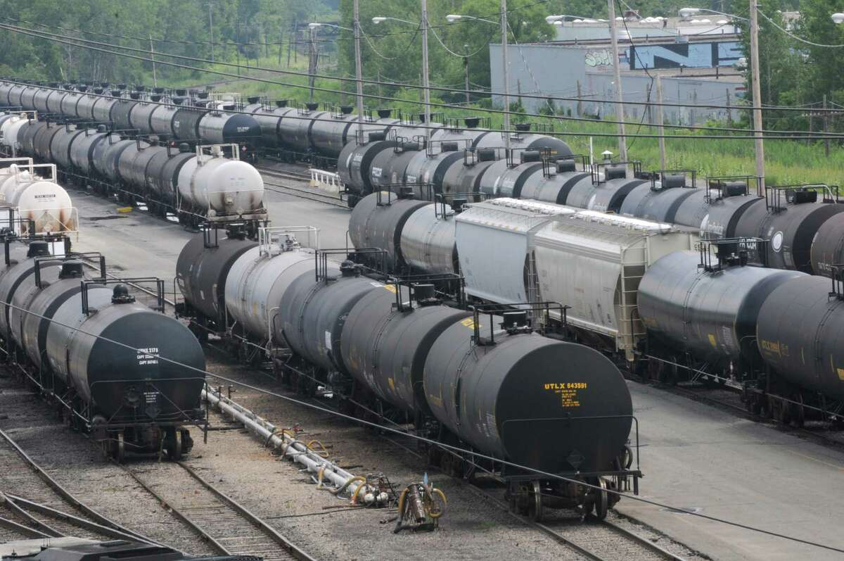 Oil tankers in a rail yard between Industrial Park Rd. and I-90 on Tuesday, July 9, 2013, in Albany, N.Y. (Lori Van Buren / Times Union)