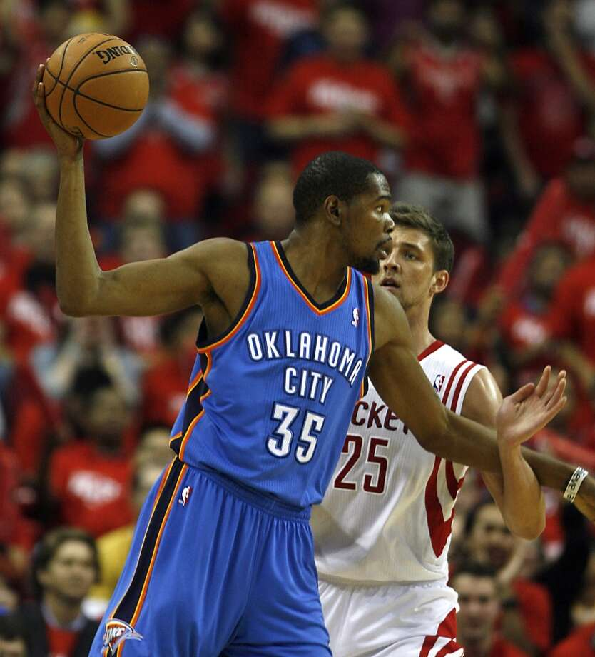 1. Oklahoma City Thunder  Last season: 60-22, No. 1 seed.  July forecast: The Thunder seemed like the team to beat in the West until Russell Westbrook's knee met Patrick Beverley, and Oklahoma City was too short-handed to handle the Memphis Grizzlies. Kevin Martin, as expected, bolted to Rick Adelman's offense in Minneapolis, and the Thunder did not make moves to reinforce their depth. But Reggie Jackson seems ready to step up, and Jeremy Lamb could fit in a limited rotation role. Kendrick Perkins and Serge Ibaka need to bounce back from shaky postseasons, but the Thunder will go as far as Kevin Durant and Westbrook take them, which should at least include a large pile of wins. Photo: James Nielsen, Houston Chronicle