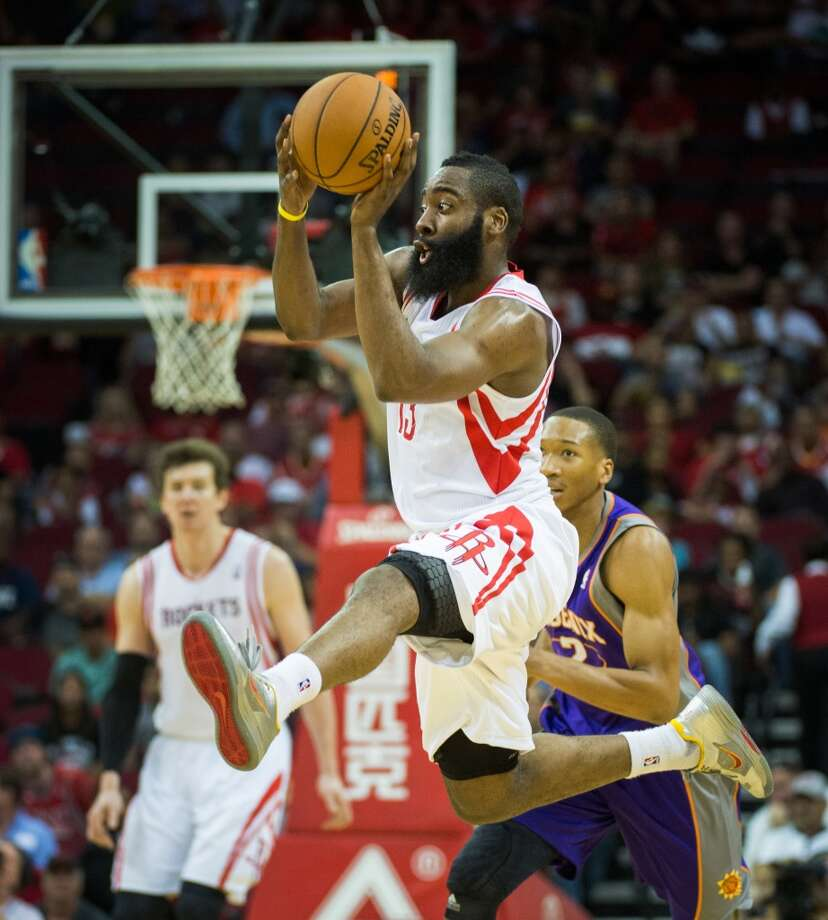 4. Houston Rockets  Last season: 45-37, No. 8 seed.  July forecast: The Rockets immediately vault from playoff team on the rise to a place in the group of contenders with the addition of Dwight Howard. Rising to the top of that list will depend not only on his returning to his Orlando levels of dominance and James Harden's growth as a closer but to the depth around them. The return of Francisco Garcia and addition of Omri Casspi could make up for the loss of Carlos Delfino. The Rockets expect last season's rookies Terrence Jones, Donatas Motiejunas and Patrick Beverley to grow into their roles, but Chandler Parsons and Jeremy Lin are also improving and vital to the Rockets' ability to contend. Photo: Smiley N. Pool, Houston Chronicle