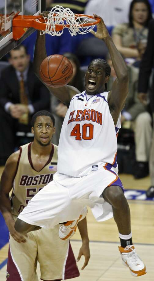 11 James Mayes, forward, 6-9, 230, Clemson/USAPHOTO: Mays dunks as Boston College's Josh Southern looks on in an Atlantic Coast Conference tournament game at Bobcats Arena in Charlotte, N.C., on March 14, 2008. (Rick Havner / Associated Press)