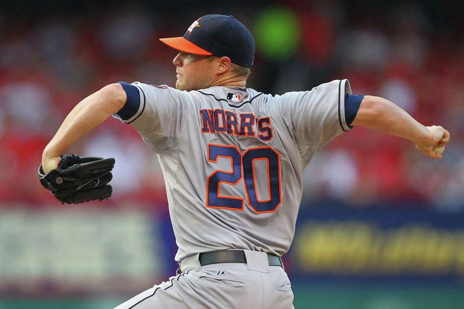 Astros starter Bud Norris suffers through a rare subpar outing Tuesday, giving up a season-high seven earned runs in five innings against a Cardinals team he normally shuts down. Photo: Dilip Vishwanat, Stringer / 2013 Getty Images