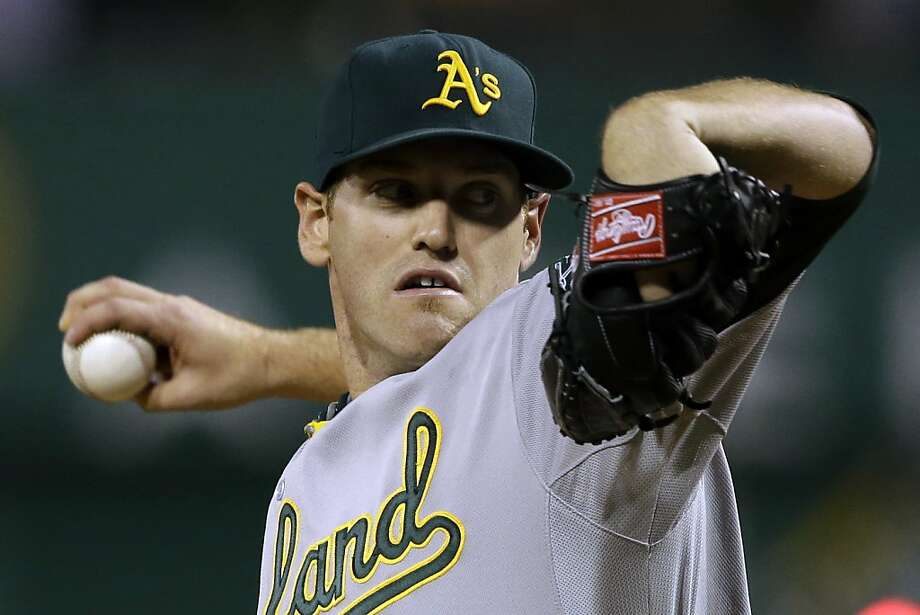 Oakland Athletics starting pitcher Dan Straily (67) delivers during the first inning of a baseball game against the Pittsburgh Pirates in Pittsburgh Tuesday, July 9, 2013. (AP Photo/Gene J. Puskar) Photo: Gene J. Puskar, Associated Press