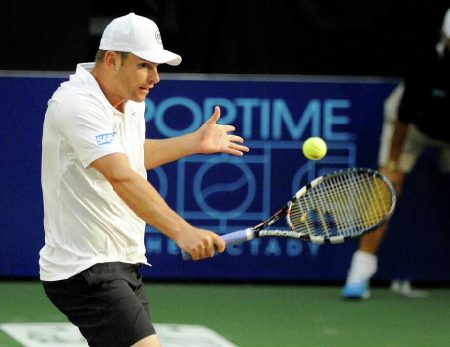Andy Roddick of the Springfield Lasers, returns the ball against the New York Sportimes in a World Team Tennis doubles match at SEFCU Arena in Albany, N.Y., Tuesday, July 9, 2013. (Hans Pennink / Special to the Times Union) ORG XMIT: HP105 Photo: Hans Pennink / Hans Pennink