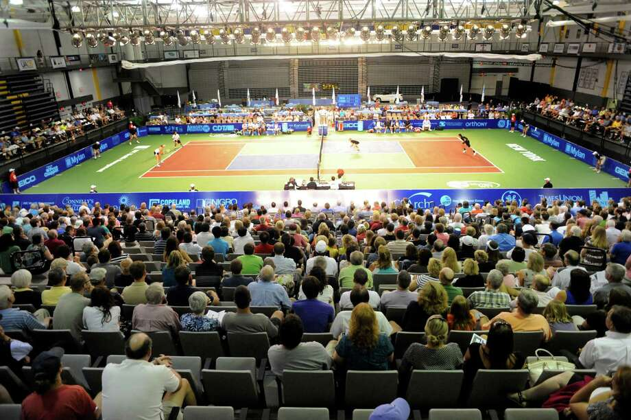 Tennis fans watch the Springfield Lasers, play the New York Sportimes in a World Team Tennis match at SEFCU Arena in Albany, N.Y., Tuesday, July 9, 2013. (Hans Pennink / Special to the Times Union) ORG XMIT: HP117 Photo: Hans Pennink / Hans Pennink