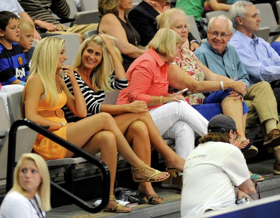 Jessica Macaluso, left, and her mother Lisa Macaluso of Clifton Park, N.Y., watch Andy Roddick of the Springfield Lasers, play the New York Sportimes in a World Team Tennis match at SEFCU Arena in Albany, N.Y., Tuesday, July 9, 2013. (Hans Pennink / Special to the Times Union) ORG XMIT: HP115 Photo: Hans Pennink / Hans Pennink