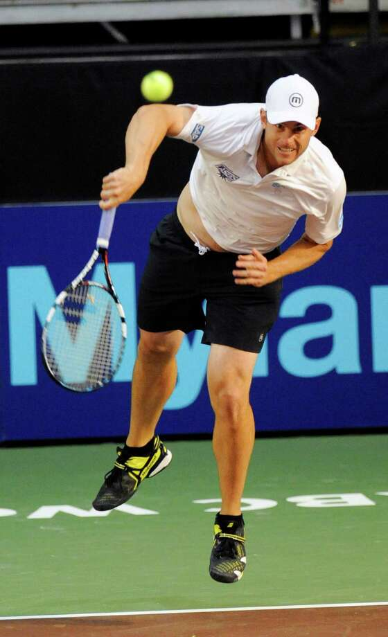 Andy Roddick of the Springfield Lasers, serves the ball against the New York Sportimes in a World Team Tennis match at SEFCU Arena in Albany, N.Y., Tuesday, July 9, 2013. (Hans Pennink / Special to the Times Union) ORG XMIT: HP101 Photo: Hans Pennink / Hans Pennink