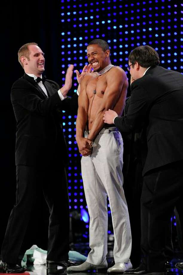 AMERICA'S GOT TALENT -- Episode 806 -- Pictured: (l-r) Tummy Talk, Nick Cannon -- Photo: NBC, Virginia Sherwood/NBC / 2013 NBCUniversal Media, LLC.