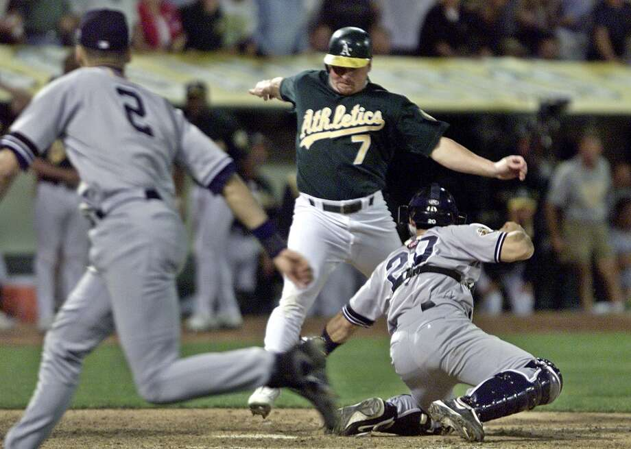 Jeremy Giambi — Three words: Slide, Jeremy, slide!