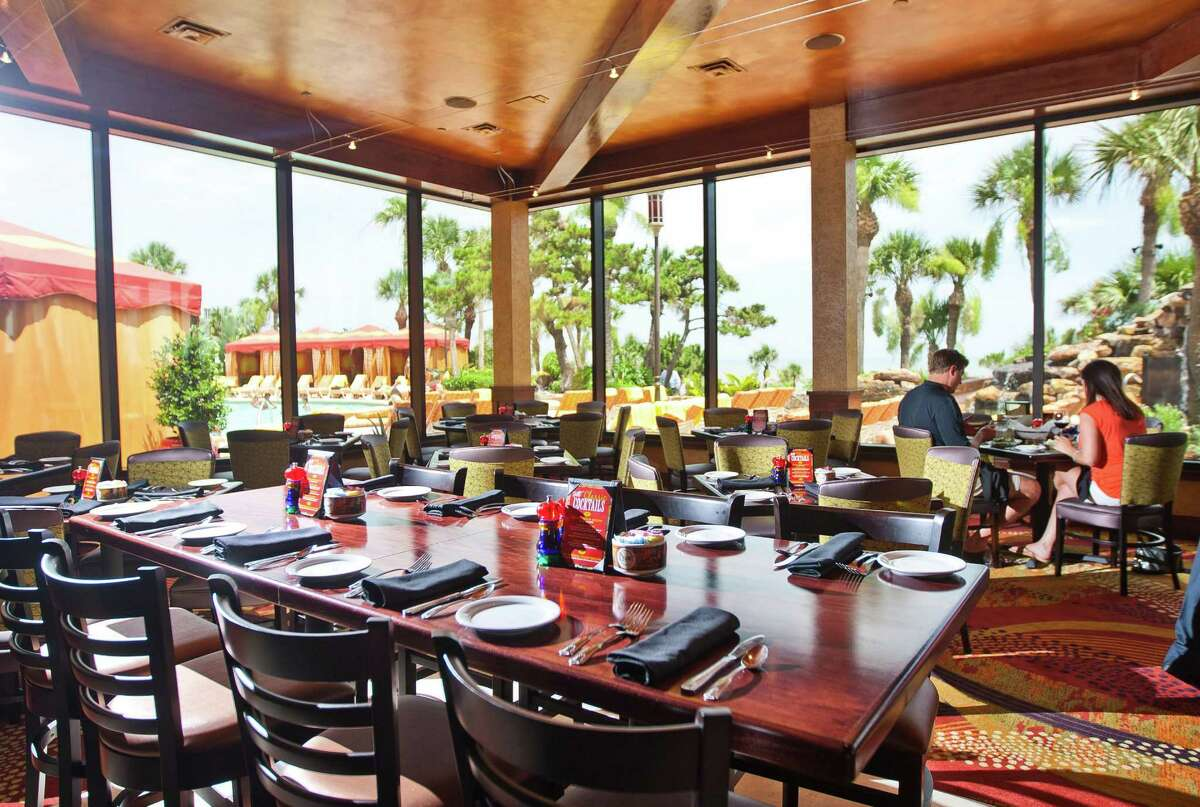 The restaurant Grotto, which is theThe San Luis Resort's newest restaurant has views of the hotel's pool and beach views, Friday, June 28, 2013, in Galveston. ( Nick de la Torre / Houston Chronicle )