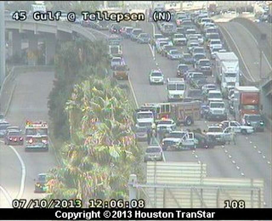 Traffic is snarled on the southbound Gulf Freeway near Lockwood after a crash about 11:45 a.m. Wednesday. Photo: Houston Transtar