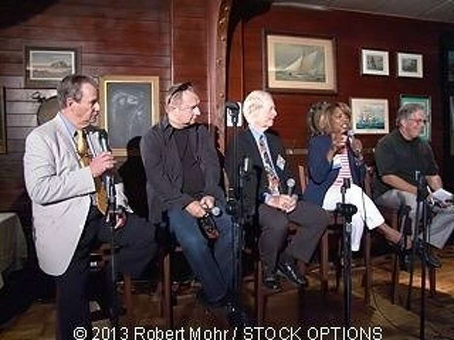 Former KGO staffers Peter Cleaveland (left), Jack Swanson, Joe Starkey, Rosie Allen and Ed Baxter. Photo: Robert Mohr / STOCK OPTIONS