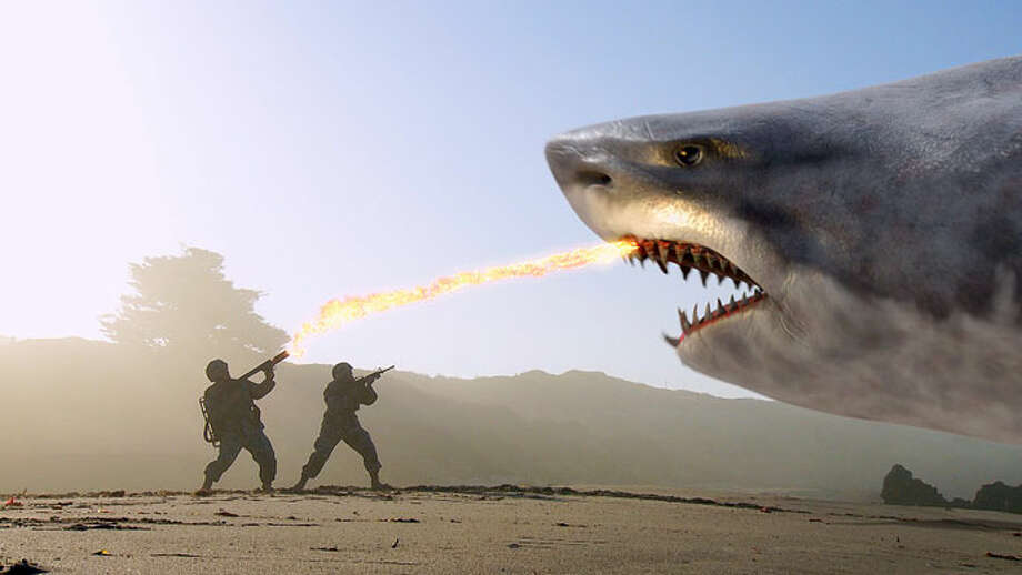 "Super Shark"" (2011)It might not have the most imaginative name, but it does feature a flying and land-walking giant ""super shark,"" a tank on legs, and Bo from the Dukes of Hazard. Like Jaws but bigger and stupider. Photo: Syfy"