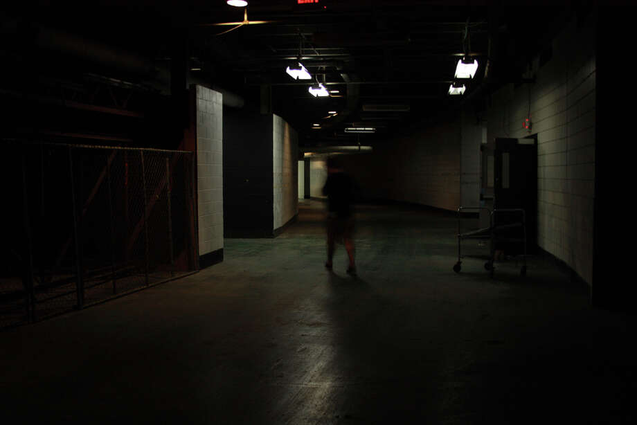 Yes, it's really this dark in here. This is at the field entrance behind home plate.