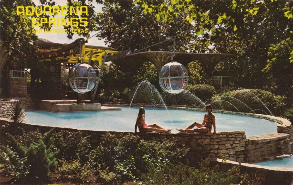 Situated at the headwaters of San Marcos River, Aquarena Springs was a popular resort featuring a sky ride, submarine theater and glass-bottom boat tours with program of swimming performances.