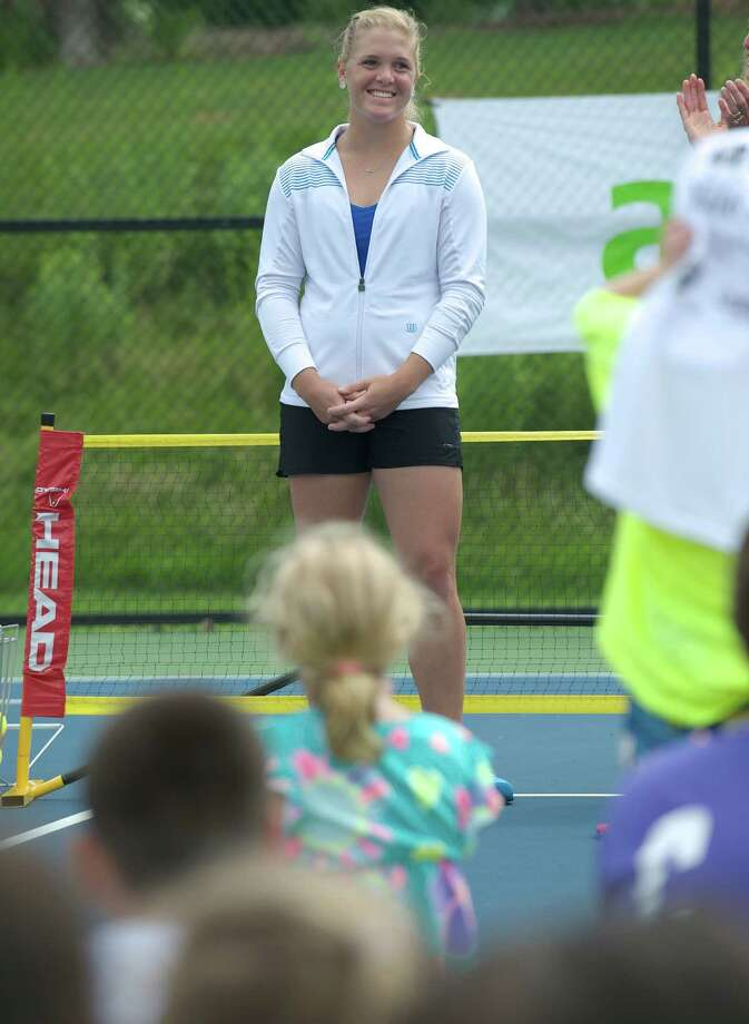 WTA tennis professional Melanie Oudin conducted a clinic, hosted by the New Haven Open tournament, at Dickerson Park in Newtown, Conn, for Newtown Park & Recreation summer campers on Wednesday July 10, 2013. Photo: H John Voorhees III