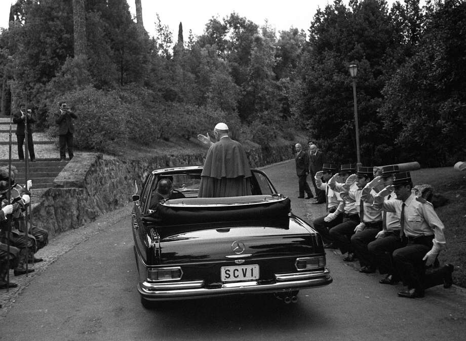 Castelgandolfo, Italy, 16th July 1970, Pope Paul VI waves to the crowds as he arrives at his summer residence.