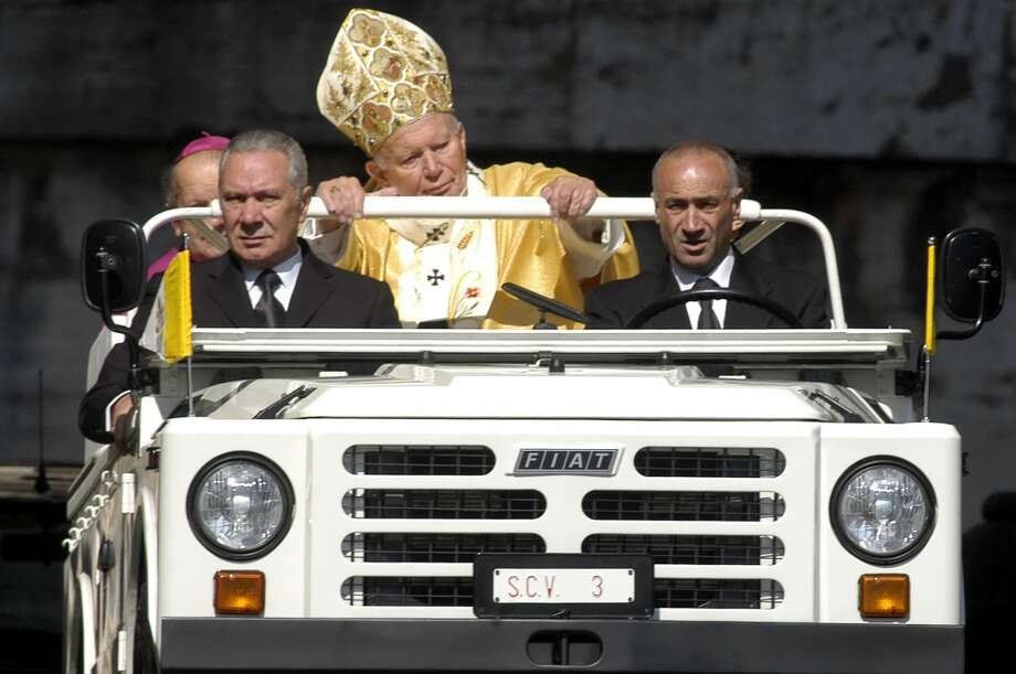 Pope John Paul II arrives in St. Peter's Square in his popemoblie for a special mass May 18, 2003 in Vatican City. The pontiff celebrated his 83rd birthday and canonized four Roman Catholic saints. The Vatican also publicly acknowledged for the first time recently that the pope has Parkinson's disease.