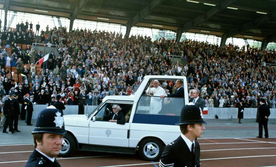 Pope John Paul II Visit to Britain 1982 - The Pope in his Popemobile to meet members of the Polish community gathered at Crystal Palace, London, England, United Kingdom.