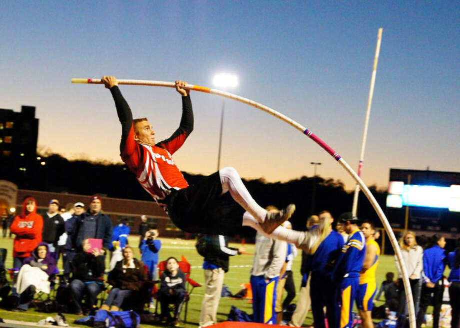 UIW and former Smithson Valley pole vaulter Jacob Ulbricht competes in a recent match. He finished third at the Lone Star Conference Indoor Meet with a 15-8.5 clearing and followed that with a bronze medal at the conference outdoor meet. Photo: University Of The Incarnate Word
