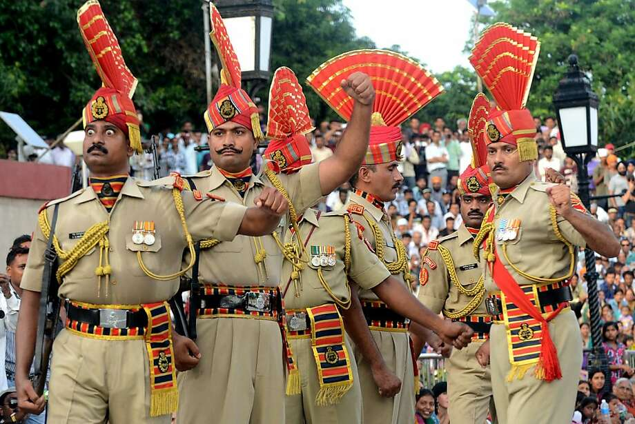 We get the feelingthat one isn't selected for the Indian Border Security Force without an immaculately groomed mustache. (Flag-off ceremony at the India-Pakistan Wagah border post.) Photo: Narinder Nanu, AFP/Getty Images