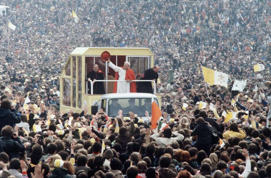 Pope John Paul II waves to cheering crowds from his Popemobile in September 1979 in Ireland. On April 1, 2005 Pope John Paul II fell gravely ill at the Vatican. The Pontif's health declined overnight after he suffered heart failure and blood poisoning.