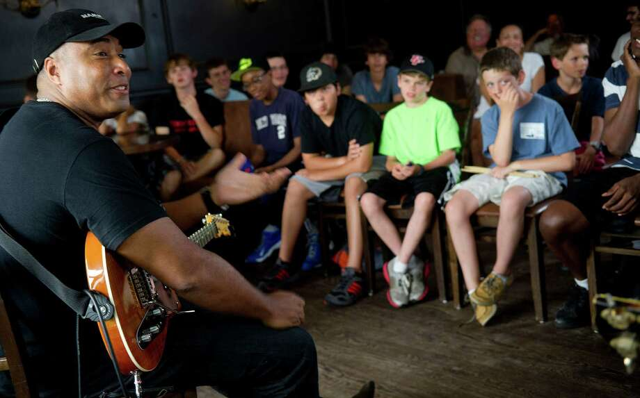 Bernie Williams speaks to middle school through college-aged students during the Young Artists Summer Jazz Workshop in Stamford, Conn., on Wednesday, July 10, 2013. Photo: Lindsay Perry / Stamford Advocate