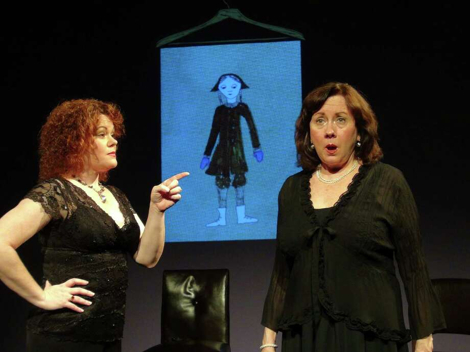 "Pamela O'Connor and Barbara Richards in Curtain Call Theater's production of ""Love, Loss and What I Wore,"" summer 2013. (Kevin Gardner)"