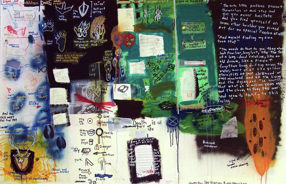 """Liz Parsons """"Tracks, Scats and Rucksacks,"""" 2010 Mixed Media on Canvas"""