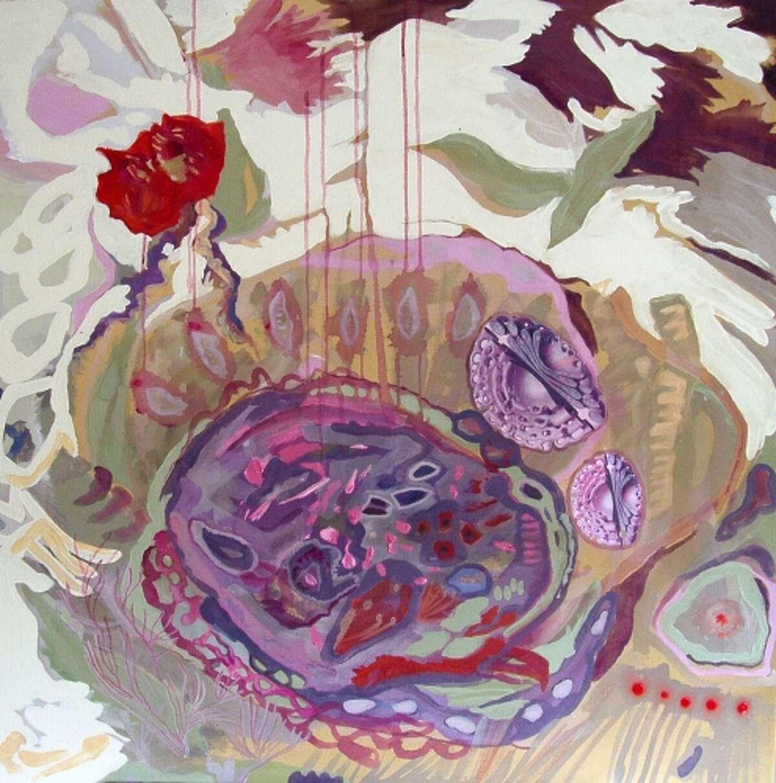 "Jane Dell ""Amoeba 1,"" 2012 Acrylic, Collage On Canvas"