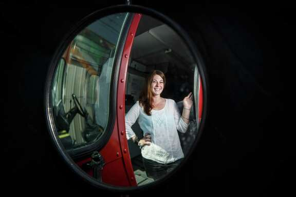 Ruth Lipsky inside her food truck,Wednesday, July 3, 2013, in Houston. ( Michael Paulsen / Houston Chronicle )