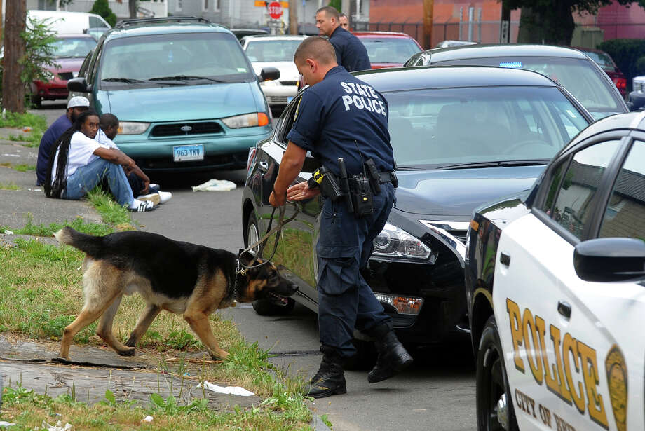 A State Police officer and his K9 execute a search during a traffic stop on Wordin Avenue in Bridgeport, Conn. on Wednesday July 10, 2013. Photo: Christian Abraham / Connecticut Post