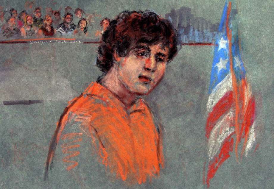 This sketch depicts Boston Marathon bombing suspect Dzhokhar Tsarnaev, 19, during his arraignment Wednesday in federal court in Boston. Photo: Margaret Small, FRE / Margaret Small