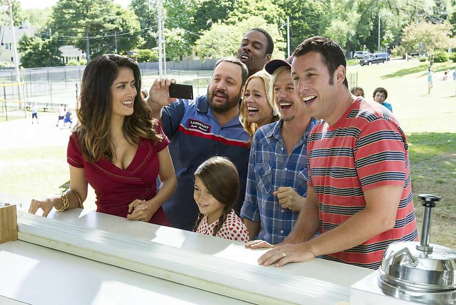 "Roxanne Feder (Salma Hayek), Eric Lamonsoff (Kevin James), Becky Feder (Alexys Nicole Sanchez), Kurt McKenzie (Chris Rock), Sally Lamonsoff (Maria Bello), Lenny Feder (Adam Sandler) and Marcus Higgins (David Spade) at The Ice Cream House in Columbia Pictures' ""Grown Ups 2."" Photo: Tracy Bennett, Sony Pictures"