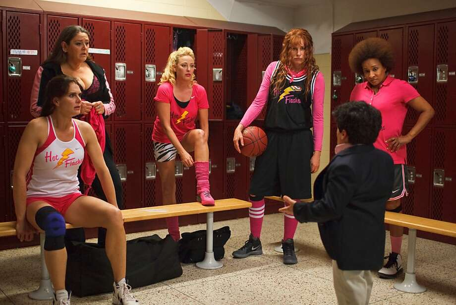 Virginia Madsen (left), Daryl Hannah and Wanda Sykes with Mark Povenelli playing the coach. Photo: Michele K. Short