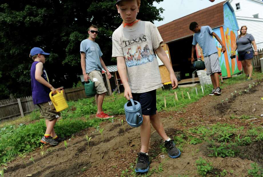 Owen, 7, center, waters plants during the Roots, Shoots, Flowers, and Fruits program on Wednesday, July 10, 2013, in Schenectady, N.Y. The hands-on garden education program for children ages 6-11 is from 9 to 11:30 a.m. Monday through Friday, through Aug. 2. and is part of Roots and Wisdom, a program of Cornell Cooperative Extension, Schenectady County. (Cindy Schultz / Times Union) Photo: Cindy Schultz / 10023107A