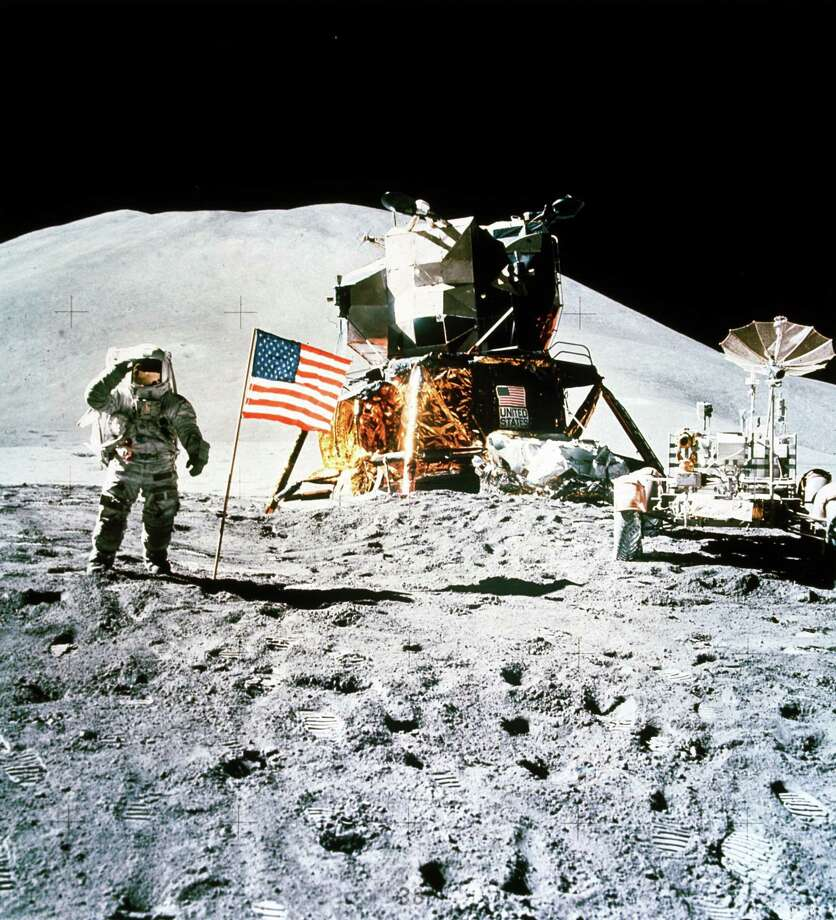 Astronaut James Irwin, with the Lunar Rover and the Lunar Module nearby, salutes the American flag planted on the surface of the Moon during the Apollo 15 mission, which launched on July 26, 1971. Mount Hadley can be seen in the background. Photo: Science & Society Picture Librar, SSPL Via Getty Images / Please read our licence terms. All digital images must be destroyed unless otherwise agreed in writing.