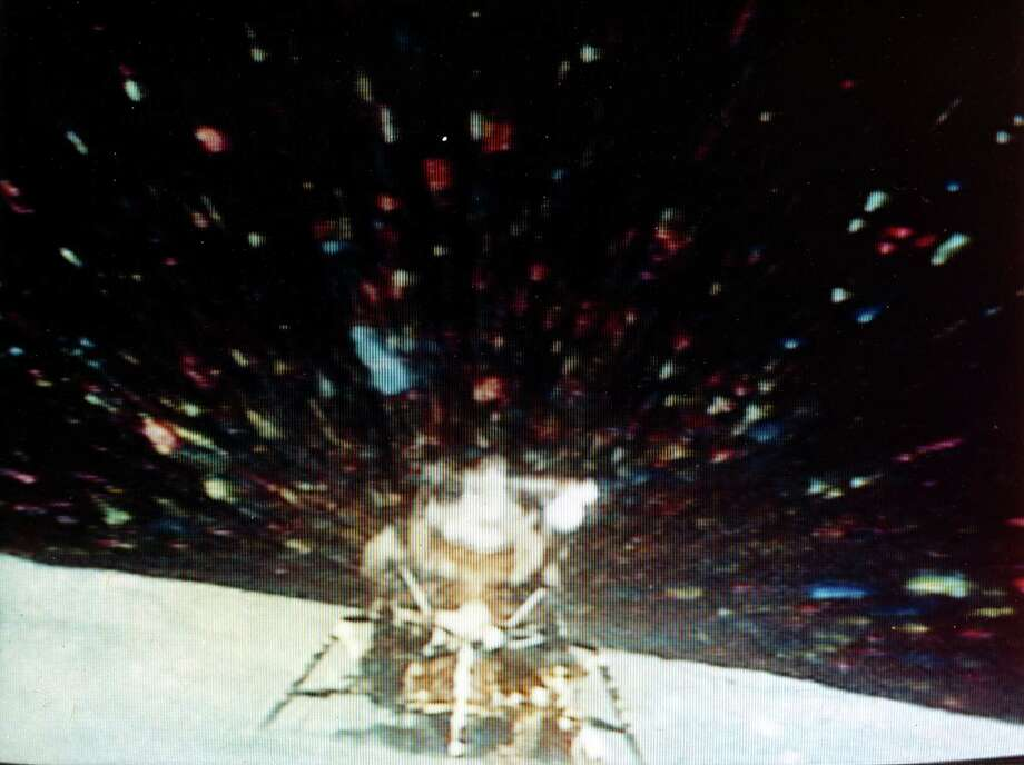 The ascent stage of Orion, the Apollo 16 Lunar Module, lifts of from its descent stage to rendezvous with the Apollo 16 Command and Service Module on April 23, 1972. This picture was taken by a camera on the Lunar Rover. Photo: Science & Society Picture Librar, SSPL Via Getty Images / Please read our licence terms. All digital images must be destroyed unless otherwise agreed in writing.
