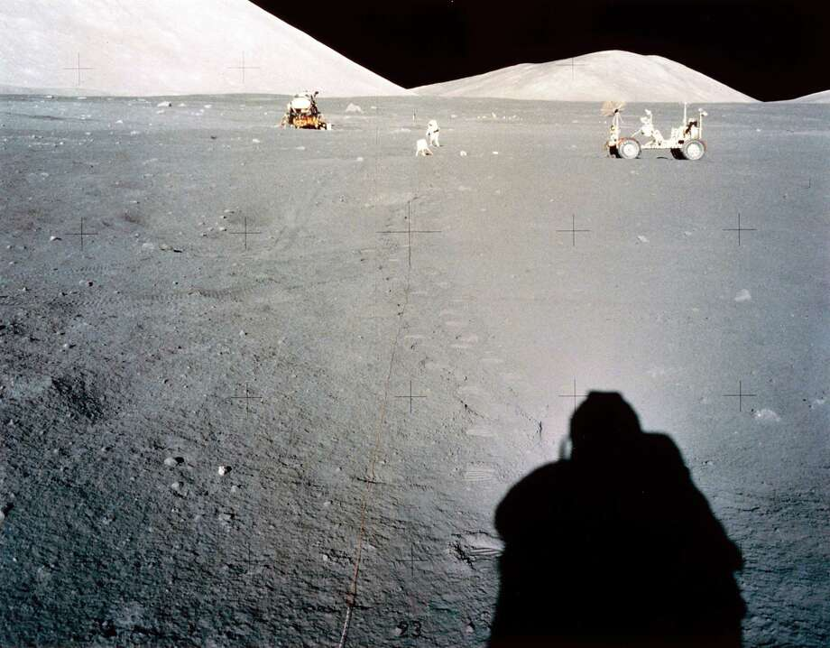 The Apollo 17 Lunar Module, Lunar Rover and an astronaut laying out experiments on the Moon's surface are shown in this picture from the December 1972 mission. Photo: Science & Society Picture Librar, SSPL Via Getty Images / Please read our licence terms. All digital images must be destroyed unless otherwise agreed in writing.