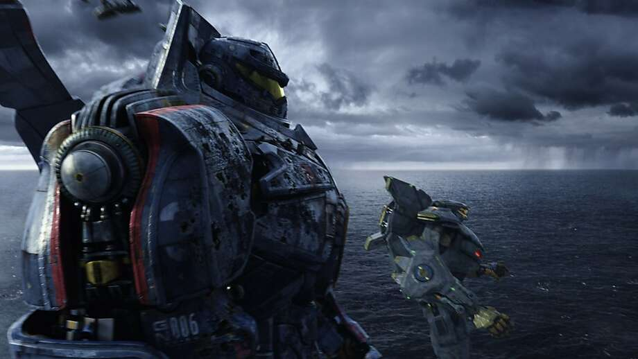 "Humancontrolled robots battle gigantic monsters from the sea for the future of humanity in Guillermo del Toro's ""Pacific Rim,"" which features a striking cameo by the Golden Gate Bridge. Photo: Courtesy Of Warner Bros. Picture"