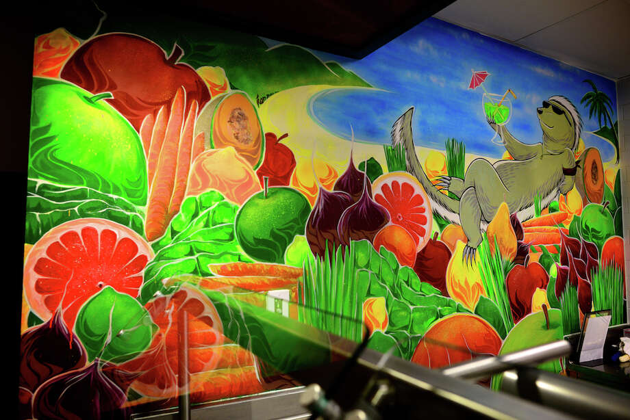 """The Juice Badger"" (2012) by Ian Ross. Mural in Cafe Epic at Facebook's Menlo Park campus. Photo: Ian Ross"