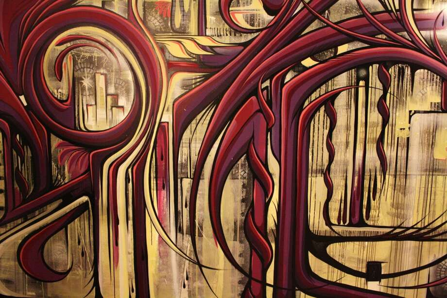 """Royal Feathers"" (2011) by Ian Ross. Mural in the Cosmo Hotel in Vegas."